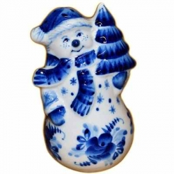 Фигурка Снеговик гжель, 11 см, арт.2709