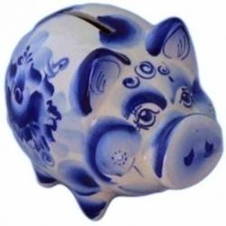 Свинка-копилка гжель, 13 см, арт 4054