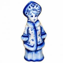 Сувенир Снегурочка  гжель 11 см, арт.2702