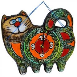 Кот-часы  шамот 25х22 см., арт. 1144