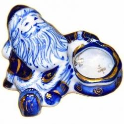 Подсвечник Дед-Мороз гжель с золотом 9 см, арт.2707
