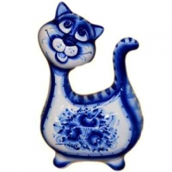 Кошка гжель 19 см, арт 10103