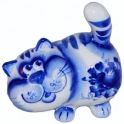 Кот гжель 8.5 см, арт 1033