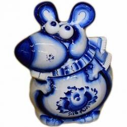 Крыса-копилка гжель, 15.5 см, арт.26103