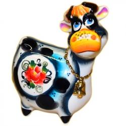 Корова цветная с позолотой 11.5 см, 2866