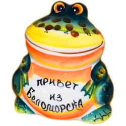 Сувенир лягушка цветная с надписью 7 см, арт 7067