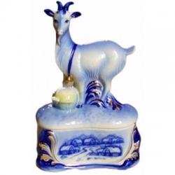 """Штоф """"Коза на скале"""", гжель, 25 см., 0.5 л,"""