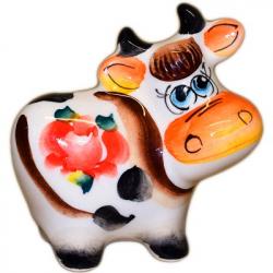 Коровка фарфоровая цветная 7.5 см., 2861