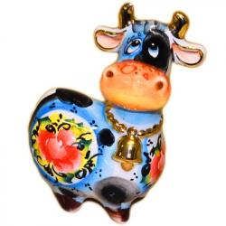 Статуэтка корова цветная с позолотой 10 см., 2829