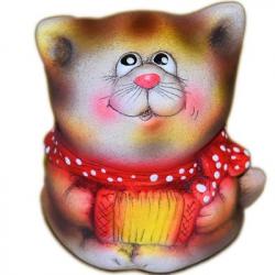Керамический кот с гармошкой