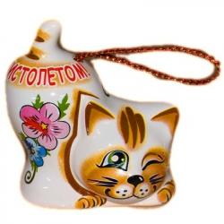 Кот-колокольчик из керамики, 6 см, арт. 1110