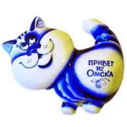 Кот-магнит гжель с надписью, 9*8 см, 7031