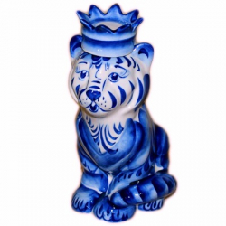 "Штоф ""Тигр"" гжель 21 см, 0,8 л,  2978"