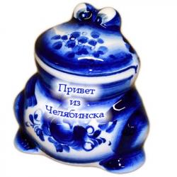 Сувенир лягушка  гжель с надписью 7 см, арт 7066