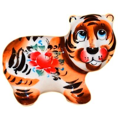 Тигр фарфор с ручной росписью