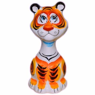 Статуэтка тигра с росписью по фарфора