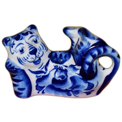 Лежачий гжельский тигр