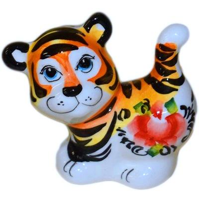 Фигурка тигра из фарфора с росписью